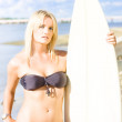 Watersport Woman Holding Surfboard - Stock Photo
