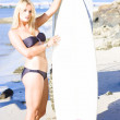 Sport Portrait Of Sexy Blond Surfer Babe — Stock Photo