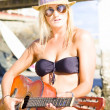 Beautiful Sunglasses Girl Playing Guitar Outdoors — Stock Photo #10589057