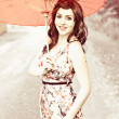 Woman With Red Parasol - Stock Photo