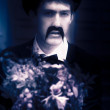 Vintage Man With Flowers - Stock Photo