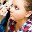Bride Getting Eye Liner Makeup Applied — Stock Photo