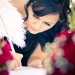 demoiselle d'honneur mariage registar de signature — Photo
