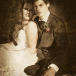 Faded Vintage Wedding Photograph - Stock Photo