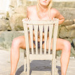 Beach Tourist Sitting On Wooden Chair — Stock Photo