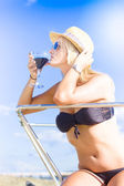 Woman Drinking Cocktail In Paradise — Stock Photo