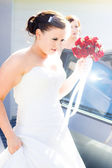 Bride Running Fashionably Late — Stock Photo