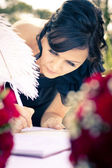Maid Of Honour Signing Wedding Registar — Stock Photo