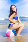 Beach Ball Bikini Babe — Stock Photo