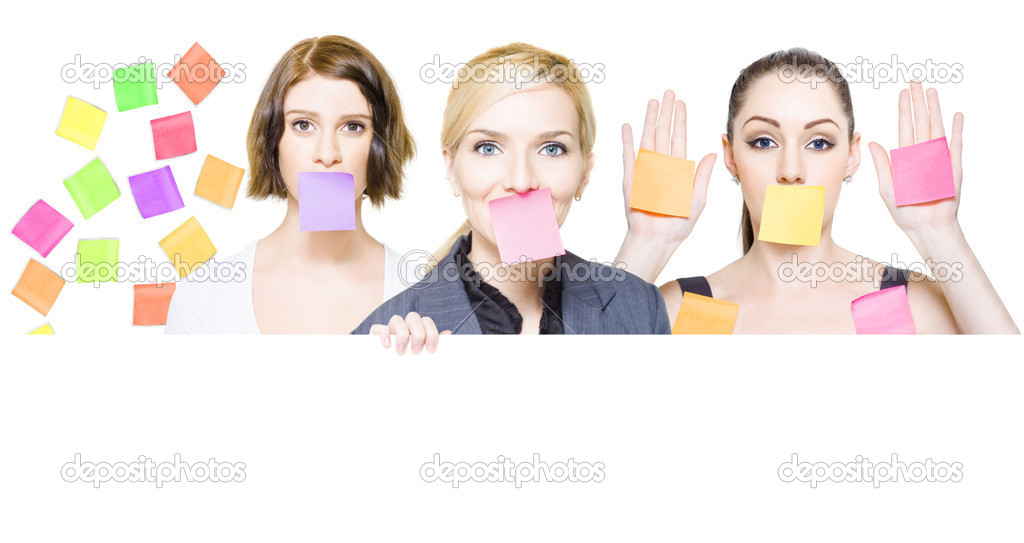 Isolated busy female business with sticky notes over their mouths and on the office wall with room for a cute comment or silly message, white background — Stock Photo #10588241