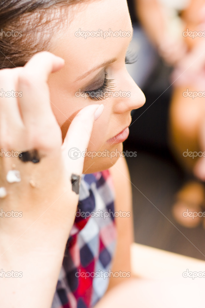 A Bride With Professionally Applied Smoky Eye Makeup And Eyelash Extensions Looking Gorgeous Before The Wedding With Eyes That Pop  Stock Photo #10589321
