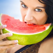 Young Female Biting Into Juicy Pink Watermelon — Stock Photo
