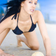 Beach Babe With Sea Shell — Stock Photo