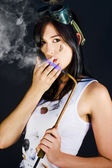 Woman Welding Smoking Cigarette — Stock Photo