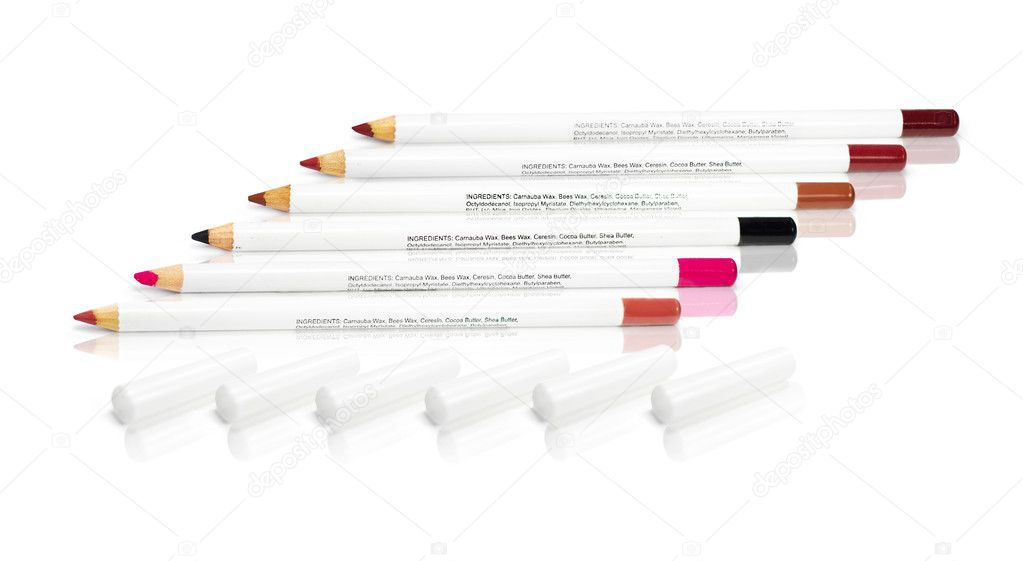 Colorful Pencil Collection Of Lip Makeup Cosmetics In Various Hues Including, Mauve, Pink, Black, Natural, Auburn And Red, Isolated With Reflection On White — Stock Photo #9307628