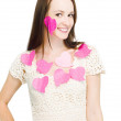 Woman Wearing Love Heart Notes — Stock Photo