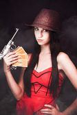 Ganster And Her Gun — Stock Photo