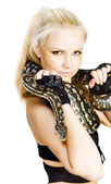 Gorgeous Blonde Snake Handler — Stock Photo