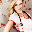 Stock Photo: Bloodstained Sadistic Nurse