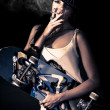 Skater girl smoking a cigarette - Foto de Stock