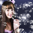 Stock Photo: Birthday Party Girl Blowing Bubbles