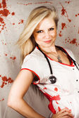 Bloodstained Sadistic Nurse — Stock Photo