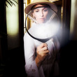 Vintage Archaeologist With Large Magnifying Glass — Stock Photo #9794729