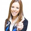 Young Business Woman Smiling With Thumbs Up - Stock Photo