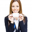 Happy Business Woman Holding Blank Business Card — Stock Photo