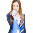 Royalty-Free Stock Photo: Pretty Business Woman Talking On Tin Can Phone