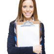 Happy Business Woman Holding Empty Blank Board — Stock Photo