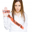 Business Woman Wrapped In Fragile Postage Tape - Foto de Stock  