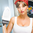 Happy Young Pretty Woman Ironing — Stock fotografie