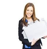 Rich Successful Business Woman Smiling With Money Briefcase — Stock Photo