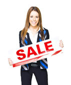 Sales And Marketing Professional Displaying Sale Sign — Stock Photo