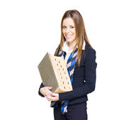 School Teacher Smiling Holding Education Textbook — Stock Photo