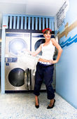 Laundry Mat Woman — Stock Photo