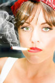 Unhappy Woman Smoking Cigarette — Stock Photo