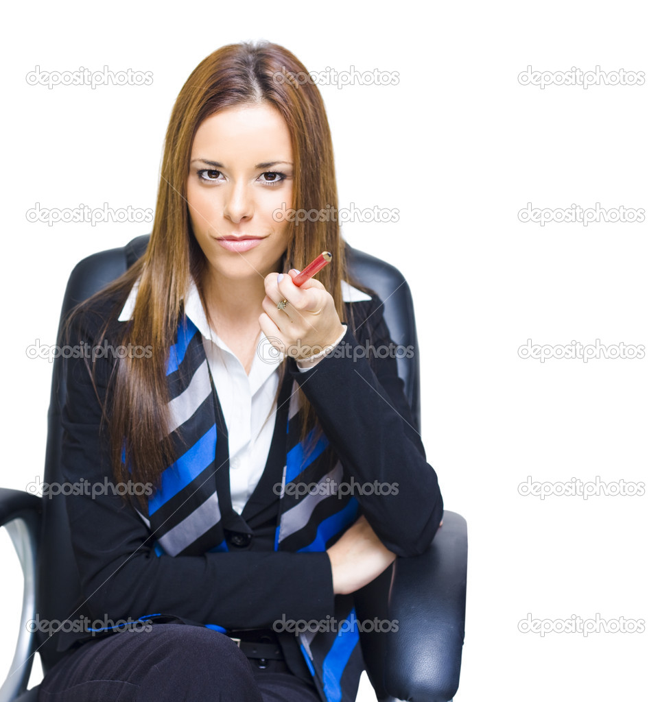 In A Career Job Hiring And Recruitment Campaign A Executive Business Person Points With A Pencil In A We Want You For A Job Interview Concept, White Background — Stock Photo #9982462