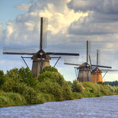Windmills in Kinderdijk, Holland — Stock Photo
