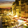 Grand Canal at night, Venice. Italy — Stock Photo