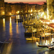 Grand Canal at night, Venice. Italy - Stock Photo