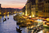 Grand Canal at night, Venice. Italy — Stock Photo