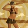 Beautiful woman in sexy army look — Stock Photo