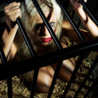 Bondage art style with beautiful nude slave girl locked in cage - Stok fotoraf