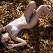 Woman in sexy lingerie surrounded by leaves — Stock Photo