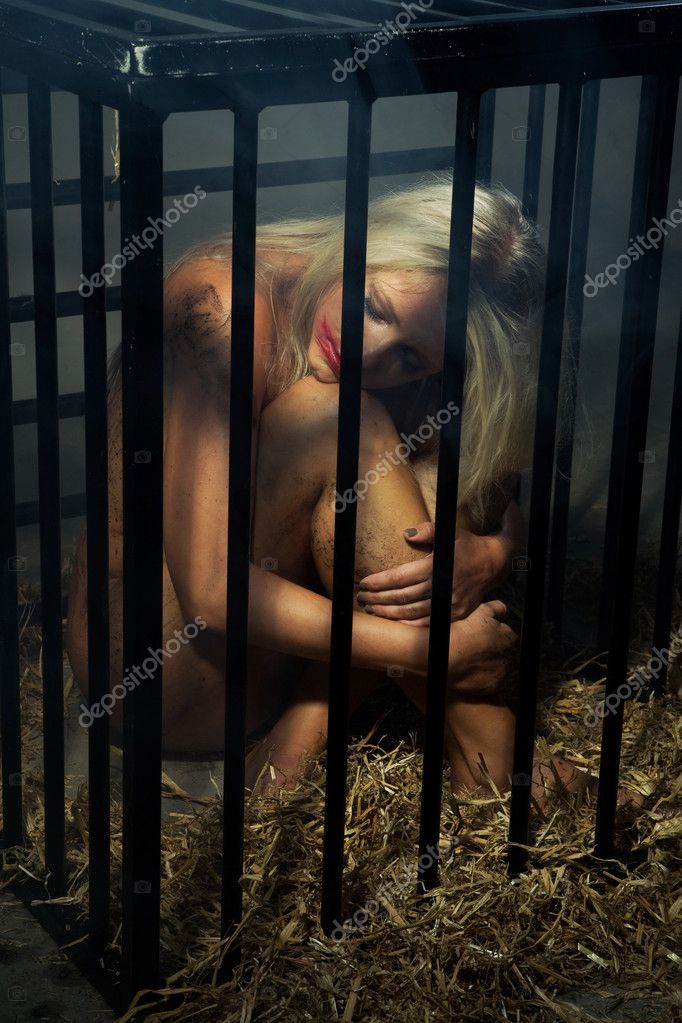 Bondage art style with a beautiful nude slave girl locked in a cage with ...