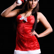 Stock Photo: Beautiful christmas girl isolated on black background