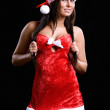 Beautiful christmas girl isolated on black background — Stock Photo