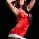 Beautiful christmas girl isolated on black background — Stock Photo